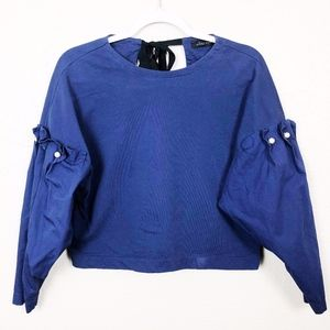 Zara Puff Sleeve Top with Pearl Detail Size S